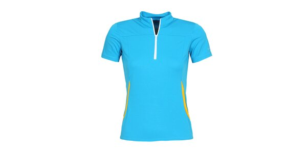 Dámské modré cyklistické tričko se zipem a roláčkem Bergson