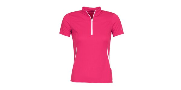Dámské růžové cyklistické tričko se zipem a roláčkem Bergson