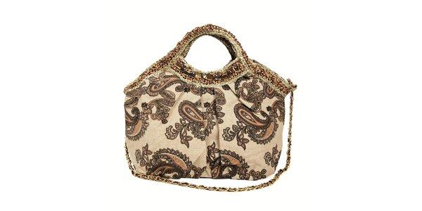 Textilní kabelka značky Siva s hnědým vzorem