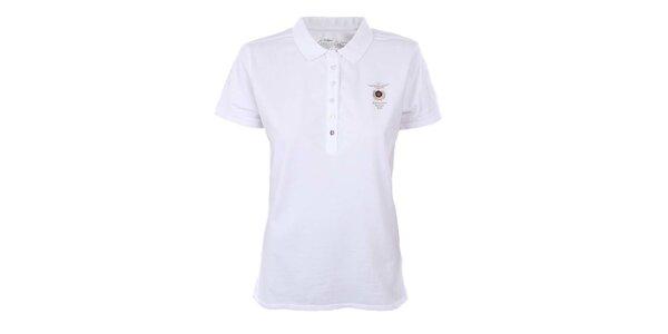 Dámské sněhobílé polo tričko s výšivkou Aeronautica Militare