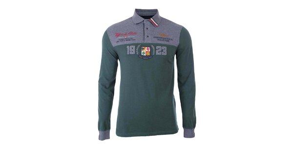 Pánské zeleno-šedé polo tričko s dlouhým rukávem Aeronautica Militare
