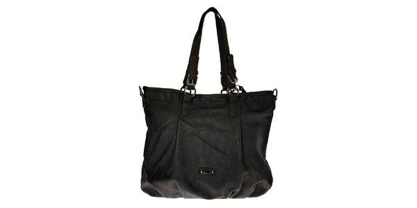Dámská velká černá nabíraná kabelka Elle