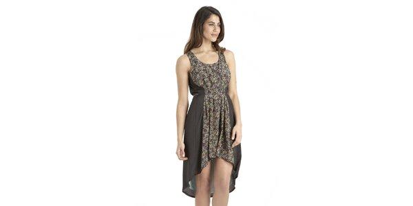 Dámské tmavé šaty s květinovým potiskem Uttam Boutique