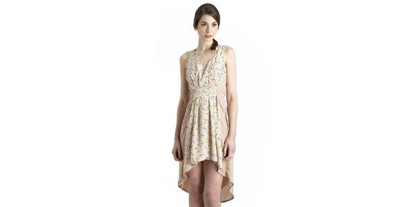 Dámské krémové šaty s květinovým potiskem Uttam Boutique
