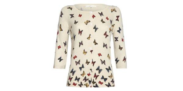 Dámský smetanový propínací svetřík s motýlky Uttam Boutique