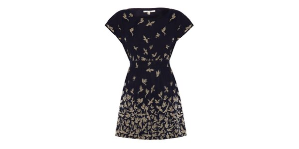 Dámské tmavomodré šaty s ptáčky Uttam Boutique