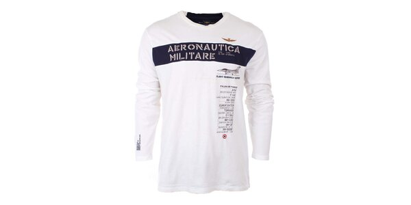 Pánské bílé tričko s nápisem Aeronautica Militare