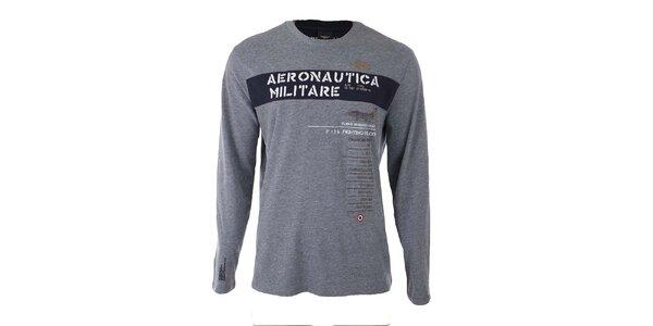Pánské šedé tričko s nápisem Aeronautica Militare