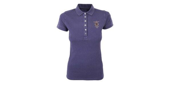 Dámské fialové polo tričko s výšivkou Aeronautica Militare