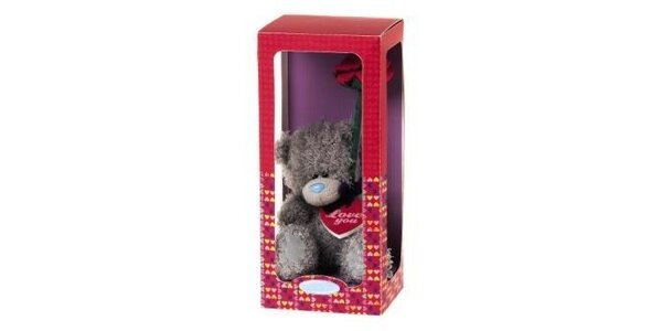 MTY medvídek 12,5cm s růží v dárkové krabičce
