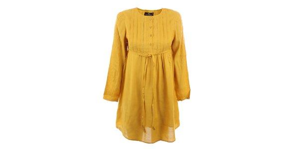 Dámské hořčicově žluté viskózové šaty Tantra