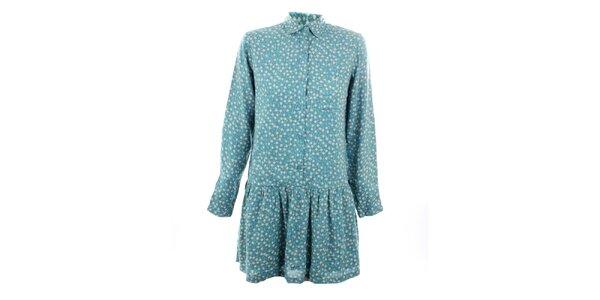 Dámské modré šaty s romantickým květinovým potiskem Tantra