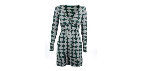 Dámské zeleno-šedé šaty s potiskem Phard