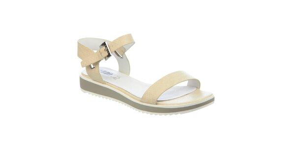 Dámské béžové sandály s koženou stélkou Keddo