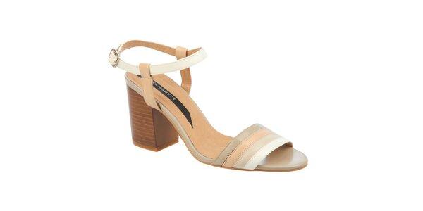 Dámské smetanové sandálky na podpatku Elisabeth