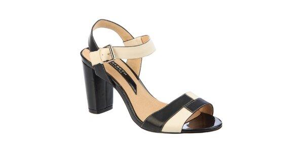 Dámské černo-krémové sandálky Elisabeth s podpatkem