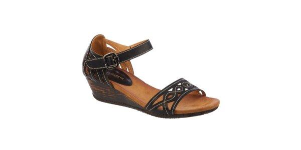Dámské černé sandálky na klínku Elisabeth