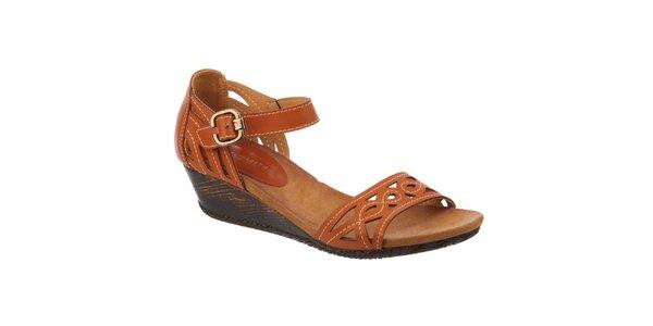 Dámské hnědé sandálky na klínku Elisabeth
