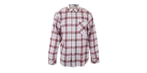 Pánská bílá volná košile s červenými kostkami Big Star