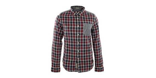 Pánská černo-červená károvaná košile Fuga