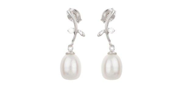 Dámské bílé visací perlové náušnice Orchira se zirkonem