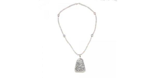 Dámský perlový náhrdelník se stříbrným krystalem Orchira
