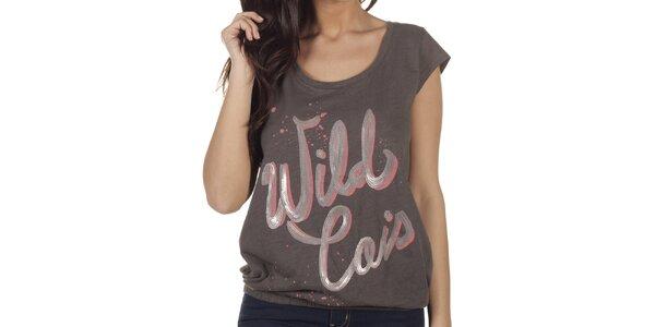 Dámské šedé tričko s transparentními zády Lois