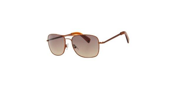 Pánské hranaté hnědé sluneční brýle Calvin Klein