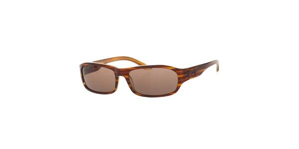 Pánské žíhané hnědo-žluté sluneční brýle Calvin Klein