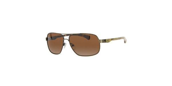 Pánské kovové sluneční brýle s hnědými sklíčky Calvin Klein Jeans