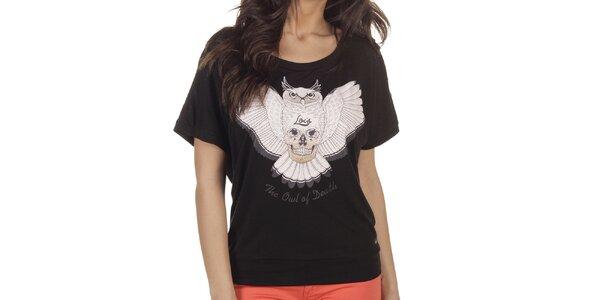 Dámské černé tričko se sovou Lois
