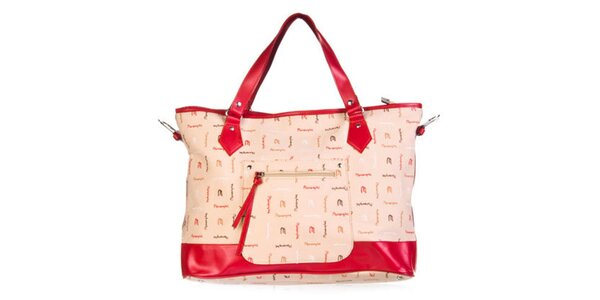 Dámská červená kabelka se vzorkem Marsanpiel