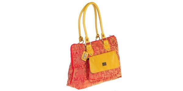 Dámská kabelka s potiskem a žlutými prvky Marsanpiel