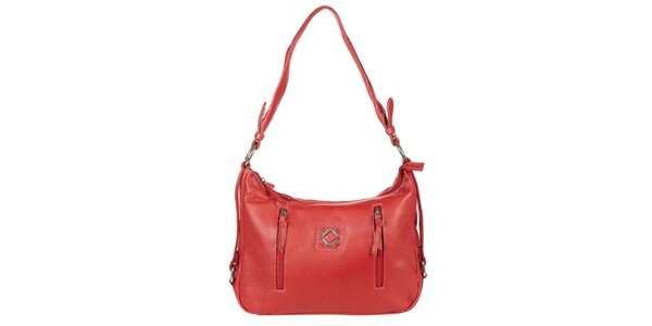 Dámská červená kabelka s vnějšími zipy Marsanpiel