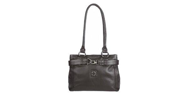 Dámská tmavě hnědá kabelka s ozdobnou karabinkou Marsanpiel