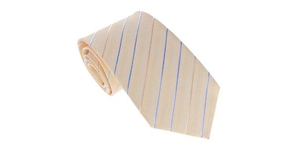 Pánská žlutá kravata s proužkem Marsanpiel