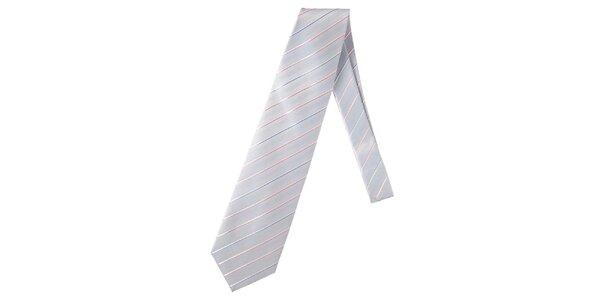 Pánská modrá kravata s proužkem Marsanpiel