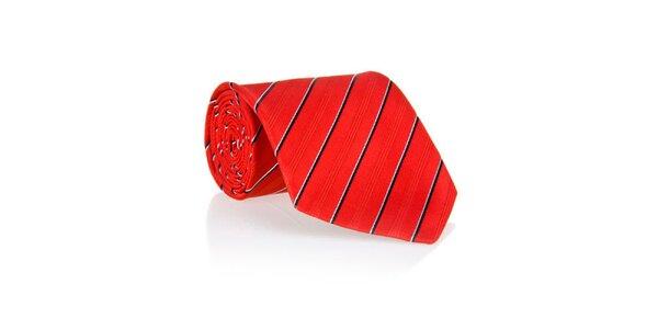 Pánská červená kravata s proužkem Marsanpiel