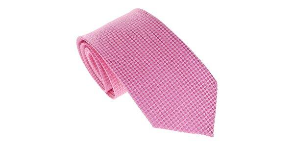 Pánská růžová kravata s jemným vzorkem Marsanpiel