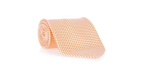 Pánská oranžová kravata se vzorem Marsanpiel