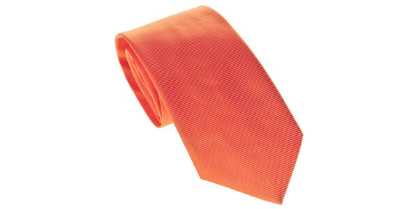 Pánská oranžová kravata s proužky Marsanpiel