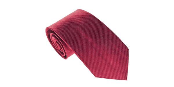 Pánská červená kravata s proužky Marsanpiel