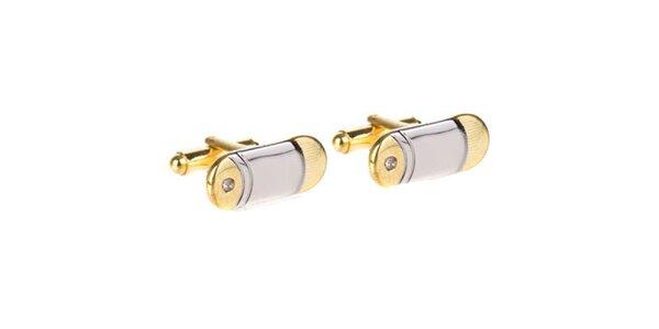 Pánské zlato-stříbrné manžetové knoflíčky Marsanpiel