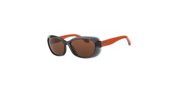 Dámské šedo-oranžové sluneční brýle Calvin Klein s hnědými skly