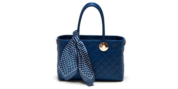 Dámská modrá kabelka s šátkem Carla Ferreri