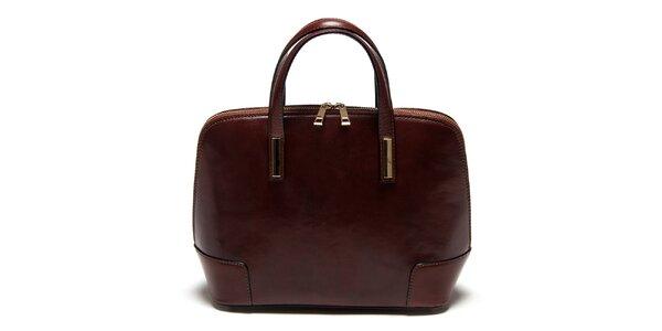 Dámská tmavě hnědá kufříková kabelka Carla Ferreri