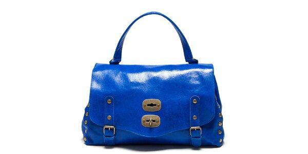 Dámská modrá kabelka s přezkami a cvočky Carla Ferreri