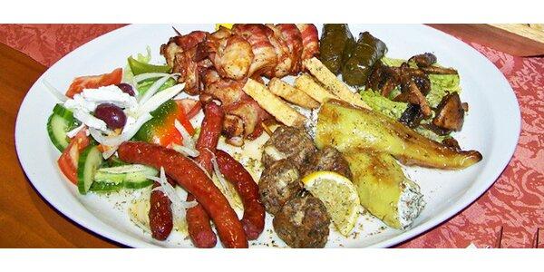 Řecký talíř pro DVA. 1200 g masových i dalších dobrot