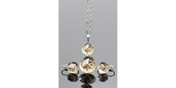 Dámská sada šperků - kulaté náušnice a náhrdelník Swarovski
