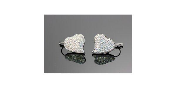 Dámské srdíčkové náušnice s barevnými krystaly Swarovski